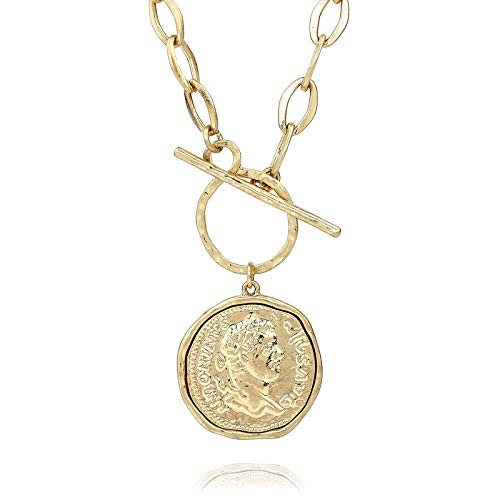 Pomina Gold Silver Chunky Thick Link Chain Necklace Medallion Coin Pendant Toggle Necklace for Women Men Teen Girls (Worn Gold)