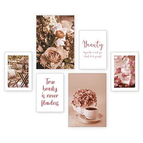 Poster-Set   True Beauty   6 Bilder Deko Wohnzimmer Modern Schlafzimmer Bild für Ihre Wand - optional mit Rahmen - 2 x DIN A3 & 4 x DIN A4 - ca. 30x40 & 20x30 (ohne Rahmen)