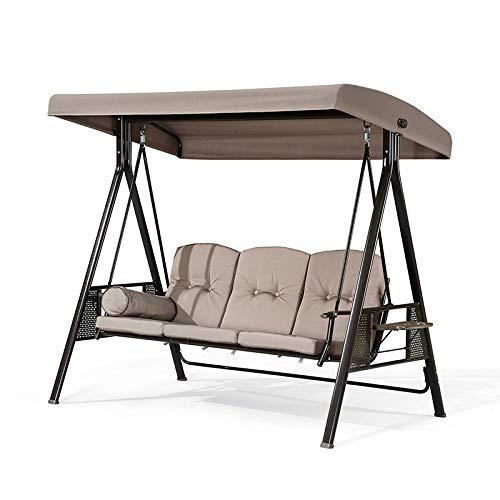 PURPLE LEAF Hollywoodschaukel Gartenschaukel Schaukelbank 3-Sitzer mit wetterbeständigem Stahlrahmen, verstellbarem Kippdach, Kissen und Kissen inklusive, Beige