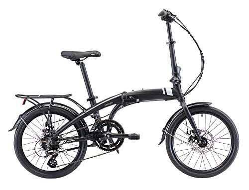 Kespor Adult Folding Bike, 20-inch Wheels, Rear Carry Rack, Shimano 16 Speed, Disc Brake