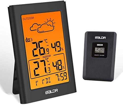 BALDR Wetterstation Funk mit Außensensor, Digital Thermometer Hygrometer Innen und Außen Raumthermometer Hydrometer Feuchtigkeit mit Wettervorhersage, Uhrzeitanzeige, Wecker und Nachtlicht(Weiß-1)