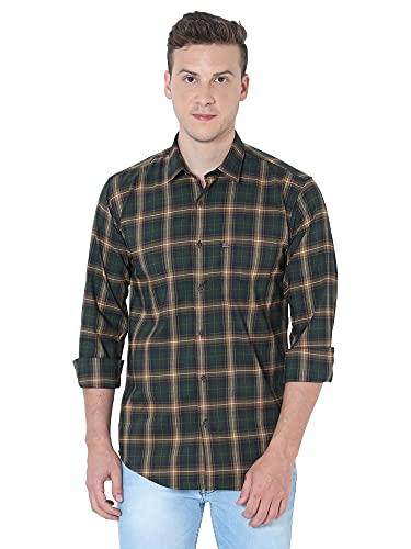 OXY-GENTZ Men's Green Checked Stretchable Cotton Lycra Slim Fit Casual Shirt