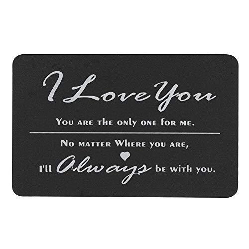 Queenberry SPA1013-L-PAR, Portafogli Uomo Nero Love You Text + Photo Engraving (Aluminum) Regular