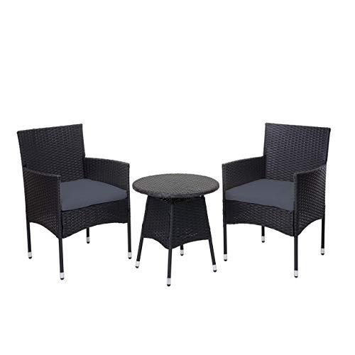 Mendler Poly-Rattan Balkonset HWC-G27, Sitzgarnitur Gartengarnitur, 2xSessel+Tisch - anthrazit, Kissen grau