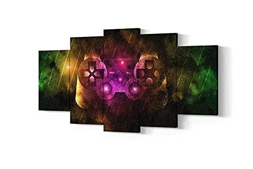 VYQDTNR XXL Arte de Pared Pinturas en Lienzo Impresiones HD Sala de Estar Decoración del hogar imágenes 5 Piezas Sala de Juegos de Playstation Carteles