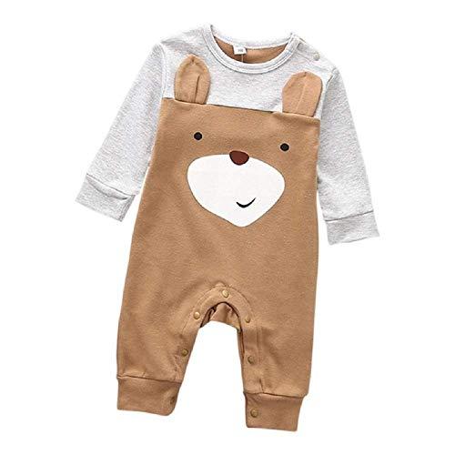 Baby Bär Strampler braun weiß ab 3 bis 6 oder 6 bis 9 Monat Größen 70,80, Baby unisex junge mädchen kleine grau Kleid Mode Neugeborene