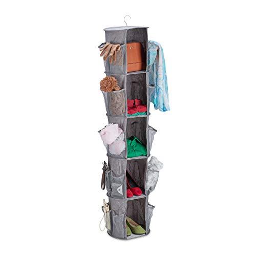 Relaxdays Hängeregal für Kleiderschrank, 5 Fächer, 30 Netztaschen, faltbar, Hängeaufbewahrung, grau, 1 Stück