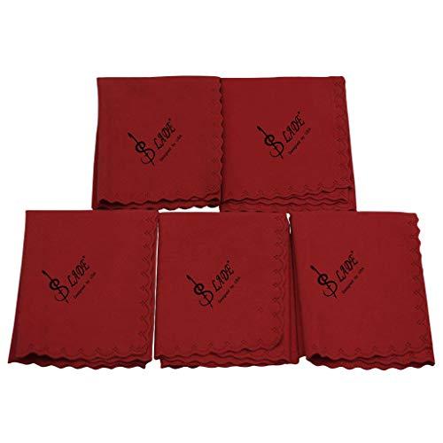 Bonarty 5er Pack Reinigungstuch, Profi Baumwolle Poliertuch für Musikinstrument, Gitarre, Violine, Klavier, Klarinette, Trompete, Saxophon - Rot