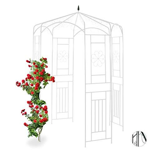 Relaxdays Padiglione da Giardino in Metallo per Rose, Sostegno per Piante Rampicanti, HLP 250x160x160 cm, Colore Bianco