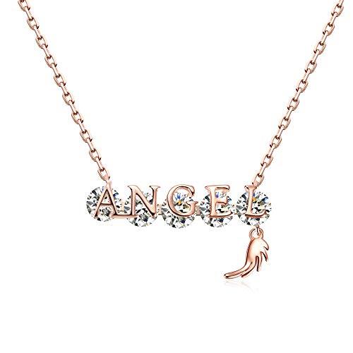 Ribivaul 天使 翼 モチーフ ネックレス レディース ブランド シルバー925 CZダイヤモンド K18ピンクゴールドメッキ 金属アレルギー対応 誕生日 プレゼント 女性 ギフトボックス付き
