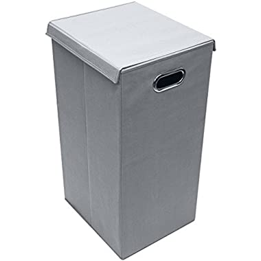 Sorbus Laundry Hamper Sorter with Lid Closure – Foldable Hamper, Detachable Lid, Portable Built-In Handles for Easy Transport – Single (Gray)