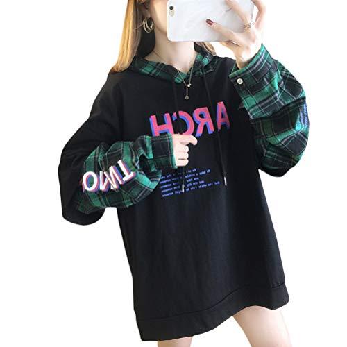 OranDesigne Kapuzenpullover Damen Harajuku Ästhetische Bär Anime Hoodie Sweatshirt Kpop Herbst Winter Kleidung Tops Z2-Schwarz XL