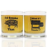 Funny BBQ Smoker Rocks Old Fashioned Whiskey Glass 2 Pack | Great for Scotch Bourbon Rye any...