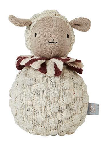 OYOY Mini Roly Poly Sheep - Babyspielzeug ab 6 Monate Stehaufmännchen Schaf aus Baumwolle zum Wippen mit Glöckchen
