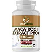 Black Maca Root Complex 4000mg - 180 Vegan Capsules – Super High Strength Black Maca with Ginkgo Biloba & Ginseng 6500mg – 6 Month Supply – UK Made by Sash Vitality