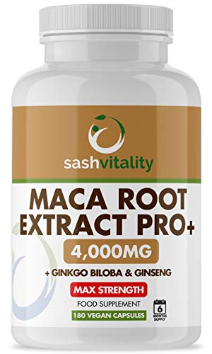 Maca Root Complex 6500mg - 180 Vegan Capsules (6 Months Supply) – Super High Strength Maca with Ginkgo Biloba & Ginseng - Made in The UK by Sash Vitality