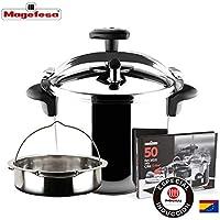 MAGEFESA STAR Olla a presión rápida. Pack exclusivo Olla+Cestillo+Libro de recetas. Fácil uso, acero inoxidable 18/10, apta para todo tipo de cocinas, incluido inducción, 3 sistemas de seguridad. (8L)
