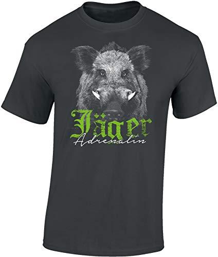 T-Shirt: Jäger Adrenalin - Wildschwein - Geschenk für Jäger - Jägerbekleidung - Jagdkleidung Männer - Waidmannsheil - Wild-Sau - Jagd - Eber - Schwein - Jägerin - Army - Schwarz - Hunter - Lustig (XL)