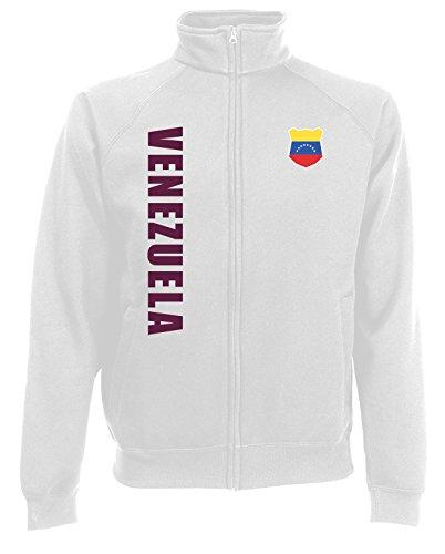 AkyTEX Venezuela Sweatjacke Jacke Trikot Wunschname Wunschnummer (Weiß, M)