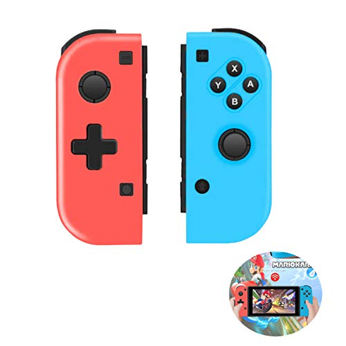 QULLOO sans Fil Manette pour Nintendo Switch, Wireless Controller Pro Rouge et Bleu de Remplacement Contrôleur, Bluetooth Gamepad Joystick Contrôleur pour Joy-Con Switch