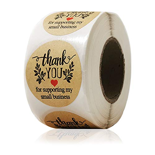 """1.5"""" Thank You Stickers,Thank You for Supporting My Small Business Stickers Roll Envelope Seals,Round Kraft Labels for Business,Cards,Bags,Boxes,Online Sales,Boutiques,500 Labels Per Roll"""