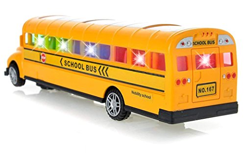 Toysery Model School Bus Toys for Kids, Long Nose Yellow Toy Vehicle for Toddlers with Flashing LED Lights and Music, Battery Operated Large Size Bump and Go Action Toy for Boys and Girls