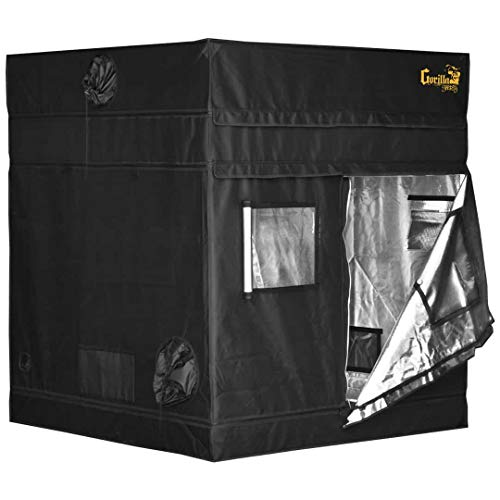Gorilla Grow Tent Shorty | Complete Heavy-Duty 1680D Reflective Hydroponic 5-Foot by 5-Foot Grow Tent for Growing Indoor Plants with 9-Inch Height Extension Kit, Windows, Floor Tray