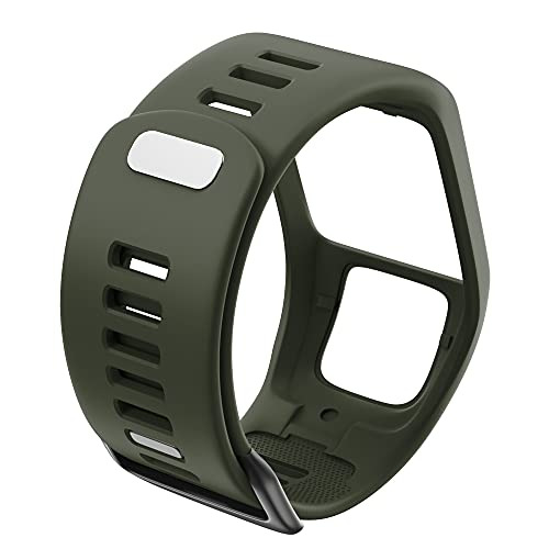 LLMXFC Silicona Reemplazo de Pulsera Reloj Correa para Tomtom Runner 2 3 Spark 3 GPS Reloj Deportivo para Tomtom 2 3 Series Soft Smart Band (Band Color : Army Green)