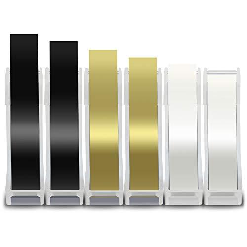 Fentec 9mm 6x Cinta de Etiquetas Compatible para Dymo 3D Cinta de Grabación en Relieve Negro Oro Transparente para Dymo S0717930 Omega Junior Home Embosser Organizer Xpress 1880 1540 20008 1595GY
