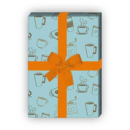 Kartenkaufrausch koffie pauzes cadeaupapier set met kopjes en koffiemolen, lichtblauw, als edele geschenkverpakking, designpapier, scrapbooking, 4 vellen, 32 x 48 cm