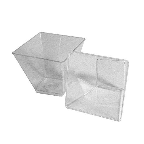 Lot de 200 petits verres carrés en plastique transparent 58 cc pour portions individuelles mousse mini dessert gâteaux