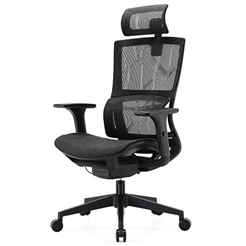 SIHOO Bürostuhl Ergonomisch, Schreibtischstuhl mit Ring Lordosenstütze, 3D Armlehnen und Sitztiefe Einstellbar, Verstellbare Wippfunktion Atmungsaktives Mesh, Innovatives Chassis(Schwarz)