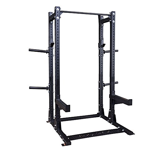 Body-Solid Pro Clubline Commercial Extended Half Rack Package for Olympic Lifts, Deadlift, Squats, and Stretching, SPR500BACKP4,Black