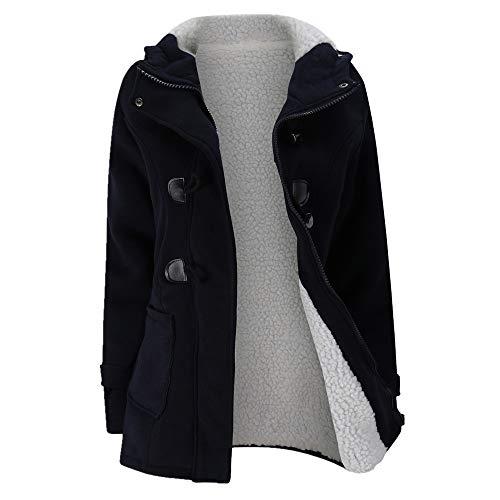 Doppelreihige Jacke mit Kapuze aus Wollmischung, wattierte Jacke mit Kaschmir-Lammwollfutter Gr. 54, blau