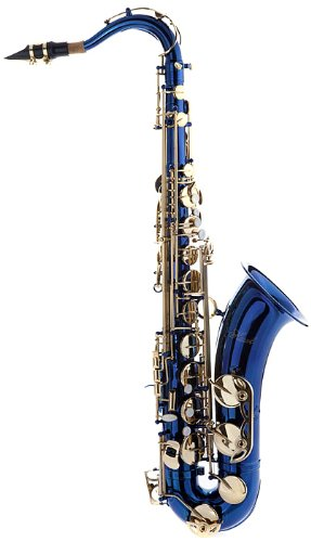 Hawk WD-S411C-BL Tenor Saxophone with Case, Mouthpiece and Reed, Blue