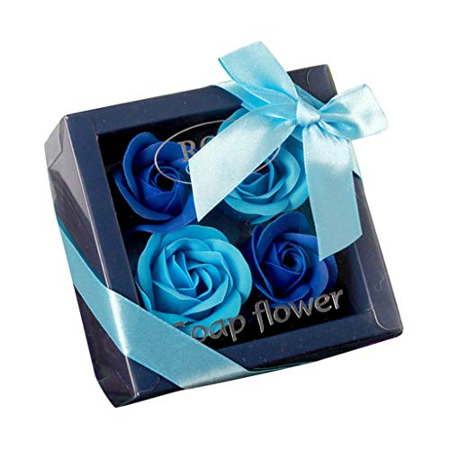 Iusun Rose Soap Flowers Gift Box Best Wishes for You,DIY Romantic Valentine's Day Bridal Wedding Party Festival Holiday (Blue, S)