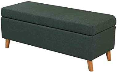 YYQIANG Ottoman Storage Boxes Long Bench with Hinge Lid, Footrest Seat Cotton Linen, Removable and Washable Cover Durable and