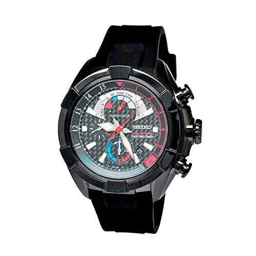 Seiko SPC149 Velatura Black Dial Men's Black Rubber Chronograph Yachting Timer Watch