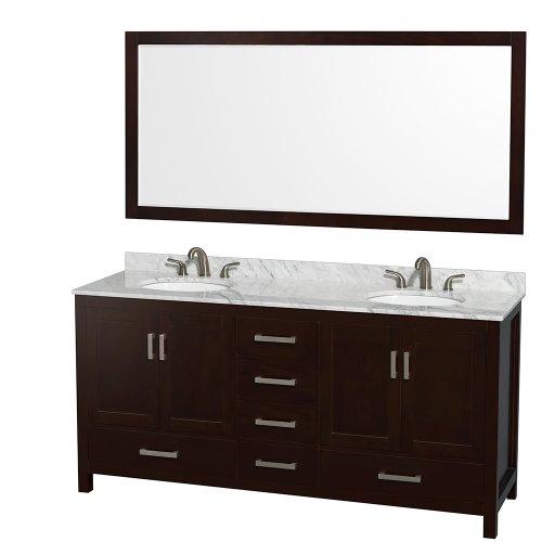 Wyndham Collection Sheffield 72 inch Double Bathroom Vanity in Espresso, White Carrara -