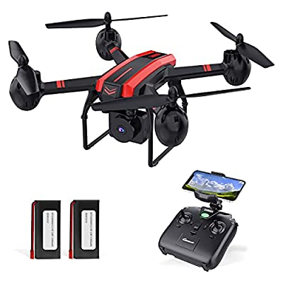 1080P Drones with Camera for Adults and Kids, SANROCK Upgrade X105W HD FPV Drone for Beginners, 34 Mins Flight Time with 2 Batteries, Easy Control RC Quadcopter with Auto Hovering, Headless Mode