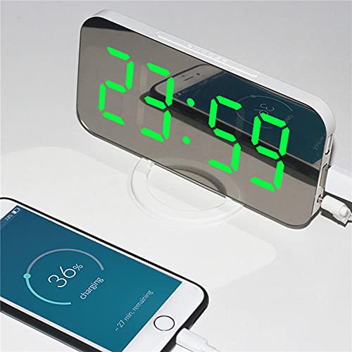 Reloj Digital Led,Reloj Despertador de Cuarzo Digital con Espejo de Moda,Tiempo de Repetición Temperatura Pantalla Nocturna 2 Puertos de Salida USB Reloj de Mesa