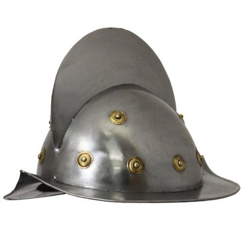 Urban Designs Imported Antique Replica 15th Century Spanish Conquistador Comb Morion Helmet, Silver