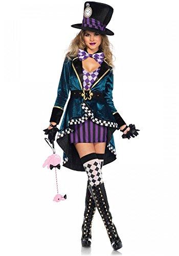 shoperama Delightful Hatter Leg Avenue Damen-Kostüm - Verrückter Hutmacher Alice im Wunderland, Größe:L