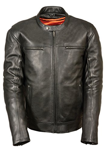 Milwaukee Leather MLM1560 Men's Long Body Vented Black Leather Jacket with Gun Pockets - 4X-Large