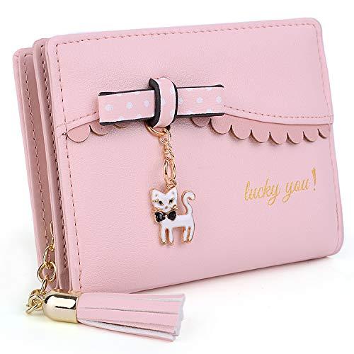 UTO Damen PU Leder Geldbörse Karte Fächer Organizer klein Münze Purse Tassel Reißverschluss Pink