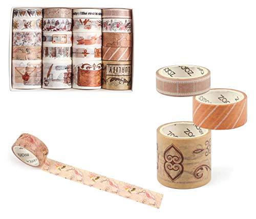 ASFINS Washi Tapes Vintage, 20 Rollos Whasitape Dorado Cinta Washi Tape, Cinta Adhesiva Decorativa para DIY Manualidades Scrapbooking Envoltura de Regalos, 10mm/15mm/30mm x 2m