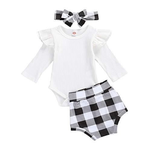 Geagodelia Conjunto de 3 piezas para bebé de manga larga, color blanco, pantalones cortos de cuadros y cinta para el pelo, para niña, body de Navidad