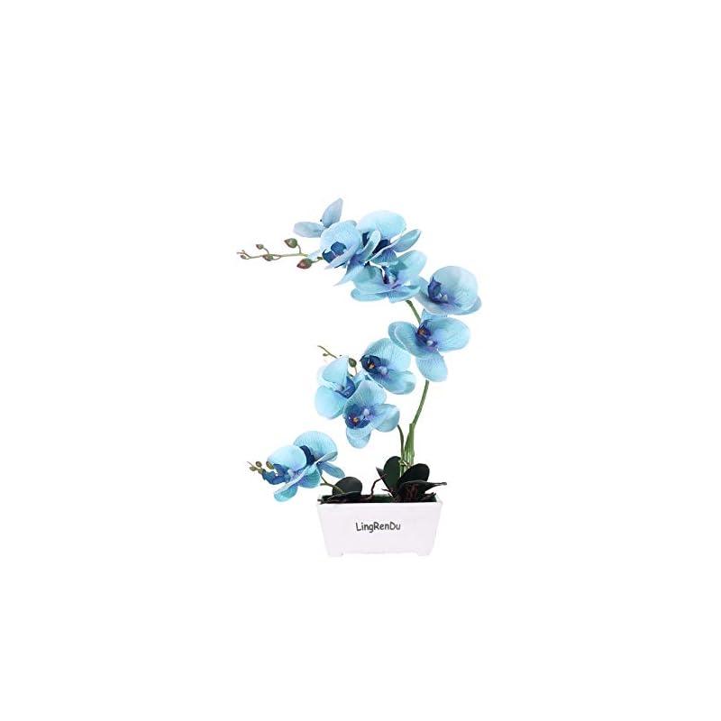 silk flower arrangements blue orchids artificial flowers orchids artificial arrangement ,silk orchids in vase for home decor 11 heads 4 color with solid plastic vase (blue)