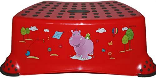 Keeeper Taburete infantil (40 x 28 x 14 cm), diseño de hipopótamo, color rojo