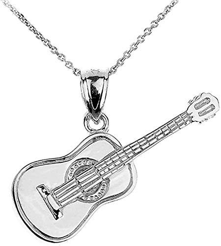 LKLFC Collar para Mujer Collar para Hombre Colgante Música Joyería Collar Plata de Ley Guitarra acústica Colgante 925 Collar Colgante Regalo para niñas Niños